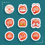 Grappige Emoticon-Stickers Stock Afbeelding