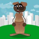 Grappige en leuke beeldverhaalhond status stock illustratie