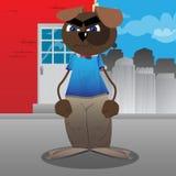Grappige en leuke beeldverhaalhond status vector illustratie