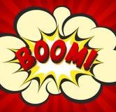 Grappige explosie met het concept van de reclameverkoop De affiche van de pop-artadvertentie met explosie en boom het van letters Royalty-vrije Stock Afbeelding