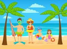 Grappige familie op de tropische vakanties van het de zomerstrand, klaar voor vakantie royalty-vrije illustratie