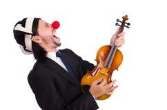 Grappige geïsoleerde clownzakenman Stock Afbeeldingen