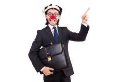 Grappige geïsoleerde clownzakenman Royalty-vrije Stock Foto's