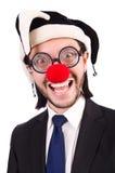Grappige geïsoleerde clownzakenman Royalty-vrije Stock Fotografie