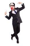 Grappige geïsoleerde clownzakenman Stock Afbeelding