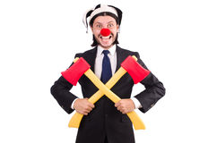Grappige geïsoleerde clownzakenman Stock Foto