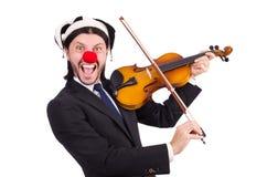 Grappige geïsoleerde clownzakenman Royalty-vrije Stock Afbeeldingen