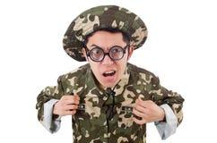 Grappige geïsoleerde militair Stock Foto's