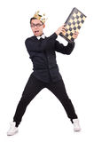 Grappige geïsoleerde schaakspeler Royalty-vrije Stock Afbeeldingen