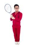 Grappige geïsoleerde tennisspeler Royalty-vrije Stock Afbeeldingen