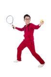 Grappige geïsoleerde tennisspeler Stock Fotografie
