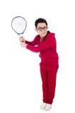 Grappige geïsoleerde tennisspeler Stock Foto's