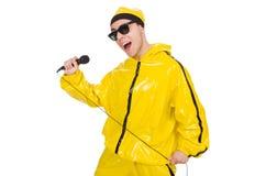 Grappige geïsoleerde uitvoerder met mic Stock Foto