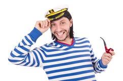 Grappige geïsoleerde zeeman Royalty-vrije Stock Foto's