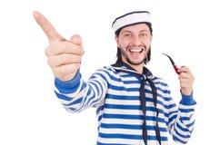 Grappige geïsoleerde zeeman Stock Afbeelding