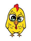 Grappige gele gekke kip. Stock Afbeelding