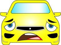 Grappige gele gekleurde beeldverhaalauto Stock Afbeeldingen