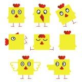 Grappige gele Pasen-kuikens Royalty-vrije Stock Afbeelding