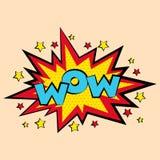 Grappige geluidseffecten in pop-art vectorstijl bellentoespraak met woord en beeldverhaal de illustratie van uitdrukkingsgeluiden Stock Foto's