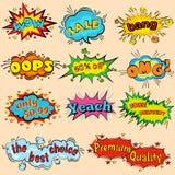 Grappige geluidseffecten in pop-art vectorstijl Correcte bellentoespraak met woord en de grappige geluiden van de beeldverhaaluit Stock Foto's