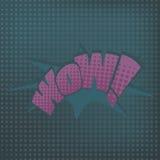 Grappige geluidseffecten in pop-art vectorstijl illustratie met halftone punt met woord wauw Royalty-vrije Stock Foto's