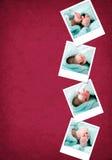 Grappige gelukkige polaroids van babyvoeten Stock Foto's