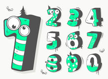 Grappige geplaatste aantallen Vector Illustratie