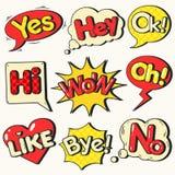 Grappige Geplaatste Bellen Pop-art Vector illustratie stock illustratie