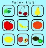 Grappige geplaatste fruitpictogrammen Royalty-vrije Stock Afbeeldingen