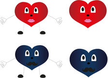 Grappige geplaatste harten vector illustratie