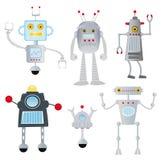 Grappige geplaatste robots Stock Afbeeldingen