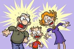 Grappige geschokte Familie. Royalty-vrije Stock Foto