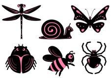 Grappige gestileerde insecten Stock Afbeelding
