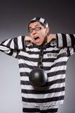 Grappige gevangene in kettingen stock fotografie