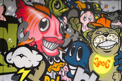 Grappige graffitimuur Stock Foto's