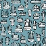 Grappige grafische hand getrokken cactussen in potten op blauwe achtergrond, naadloos patroon vector illustratie