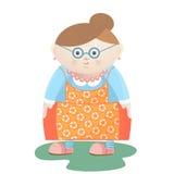 Grappige grootmoeder met glazen met parelparels en oorringen in een gebloeide schort stock illustratie