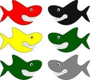 Grappige haaien in verschillende kleuren Royalty-vrije Stock Afbeeldingen