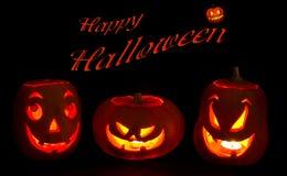 Grappige Halloween-Pompoenen in dark stock illustratie