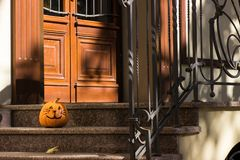 Grappige Halloween-pompoenkat Stock Afbeelding