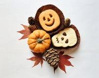 Grappige Halloween-sandwichkoekjes en minipompoenen stock foto's