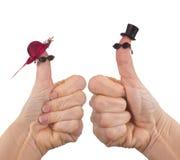 Grappige handpoptoeristen Stock Foto's