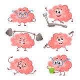 Grappige hersenen opleiding met barbell, domoren, op tredmolen, lezing, het rusten stock illustratie