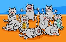 Grappige het beeldverhaalillustratie van kattenkarakters royalty-vrije illustratie