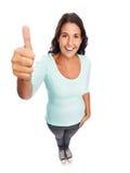 Grappige het Glimlachen moderne duimen op Vrouw Royalty-vrije Stock Afbeeldingen