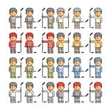 Grappige het hockeyspelers van de pixelkunst Royalty-vrije Stock Foto