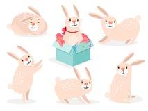 Grappige het konijntjesreeks van beeldverhaal leuke Pasen stock illustratie