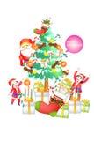 Grappige het pictogramreeksen van de Kerstmisdecoratie - Creatieve illustratie eps10 Stock Afbeeldingen