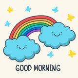 Grappige het schetsen het glimlachen wolken en regenboog Vectorbeeldverhaalillus Stock Fotografie