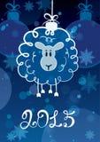 Grappige het schetsen schapen - symbool van het Nieuwjaar 2015 Vectorpost Stock Fotografie